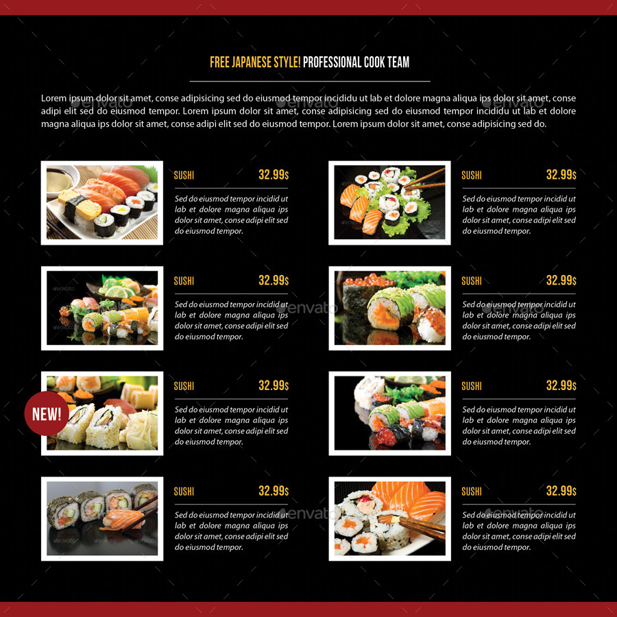 Sushi Restaurant Menu Square 3-Fold Brochure 03 by ... | 900 x 900 jpeg 258kB