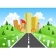Road Through The Countryside Into The City - GraphicRiver Item for Sale