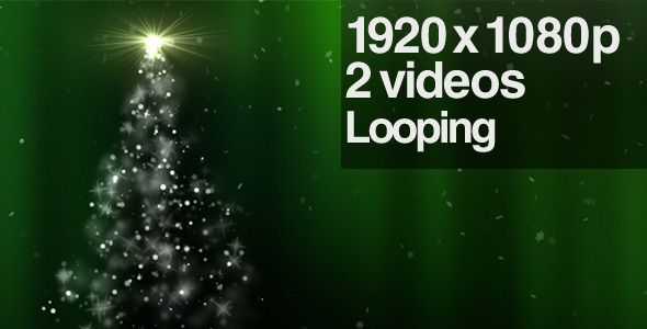 Sparkling Green Christmas Tree - Series of 2 Loop by butlerm | VideoHive