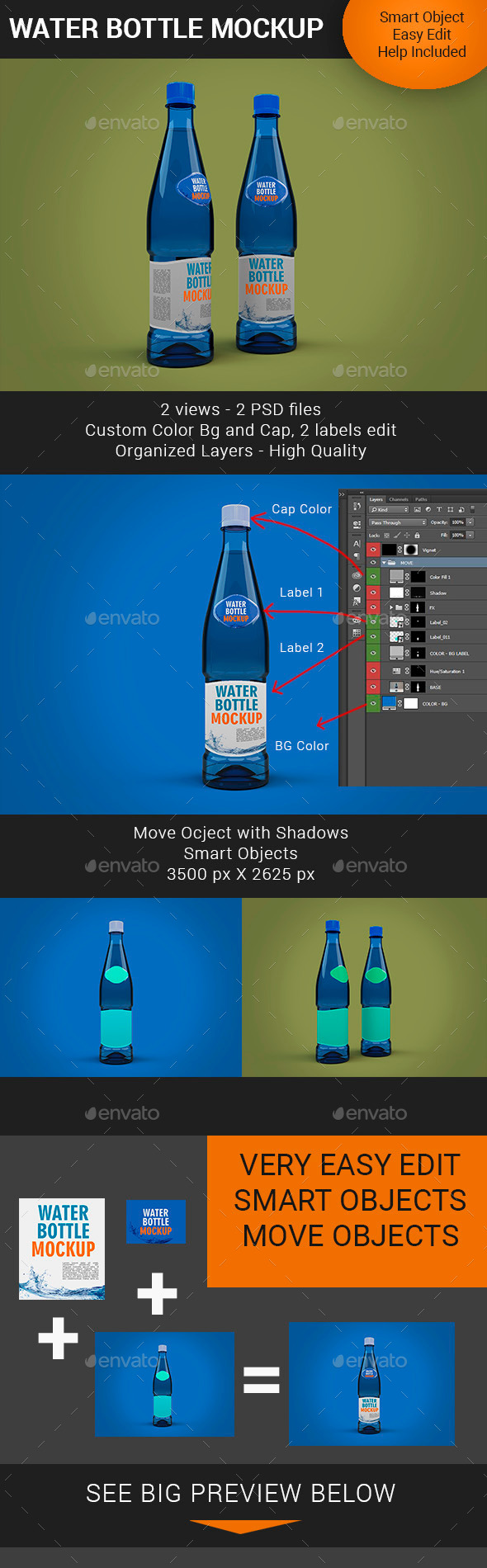 Water Bottle Mockup Premium - Food and Drink Packaging