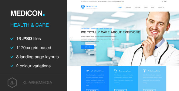 Medicon – Health Care PSD Template