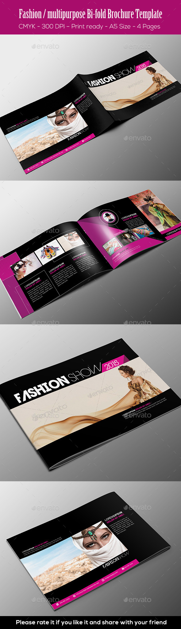 Fashion / Multipurpose Bi-fold Brochure Template - Brochures Print Templates