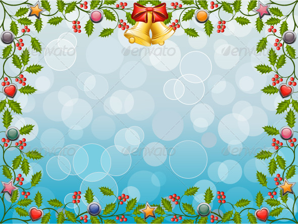 Christmas Frame with Holly - Christmas Seasons/Holidays
