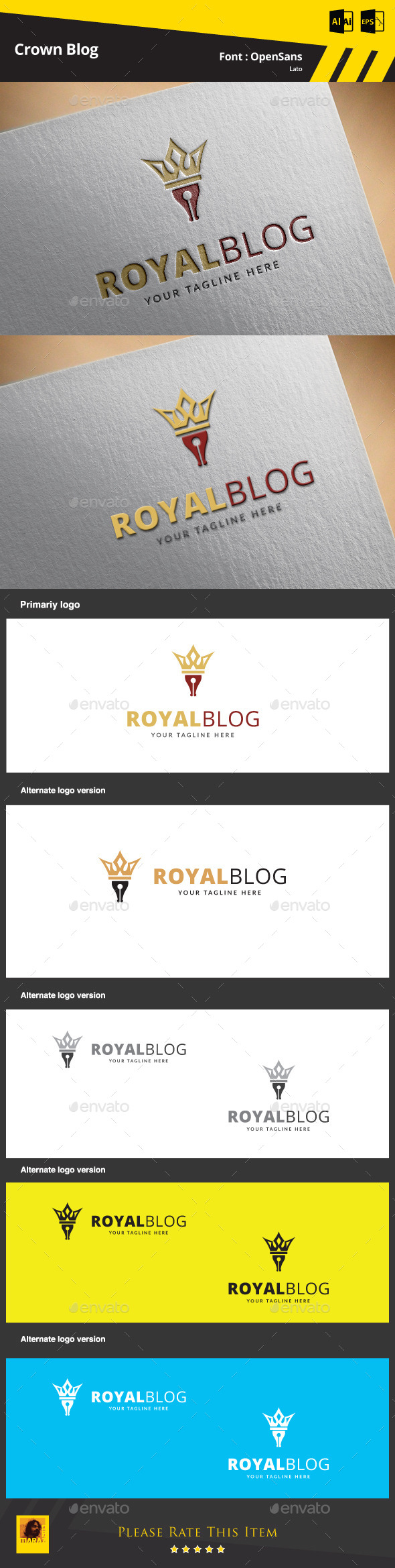 Crown Blog Logo Template - Symbols Logo Templates