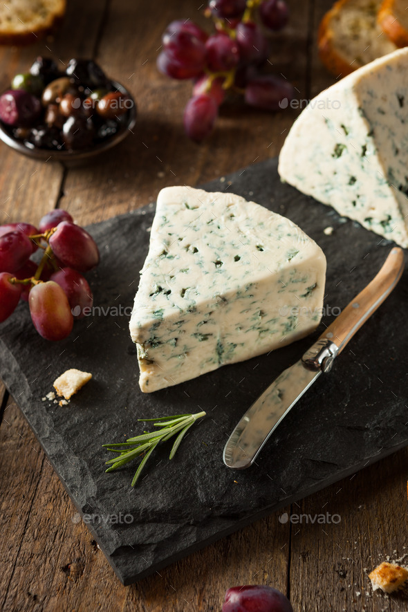 Organic Blue Cheese Wedge - Stock Photo - Images