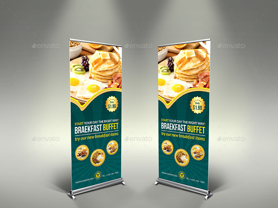 Breakfast Restaurant Rollup Signage Template by OWPictures