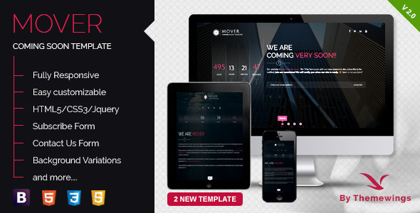Mover – Responsive Coming Soon Template