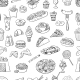 Hand Drawn Fast Food Pattern - GraphicRiver Item for Sale