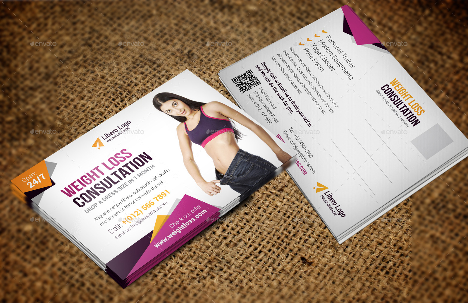 weight loss questionnaire template - fitness weight loss postcard indesign template by jbn