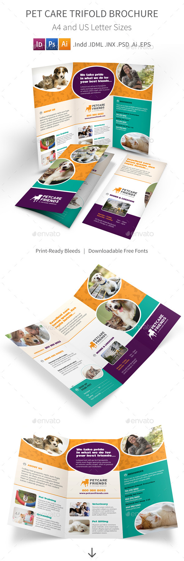 pet care trifold brochure by mike pantone graphicriver