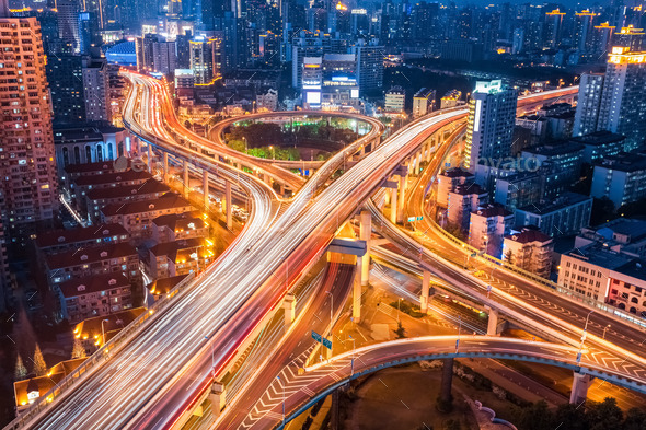 city interchange closeup at night - Stock Photo - Images