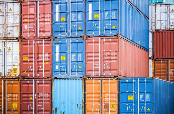 cargo containers closeup - Stock Photo - Images