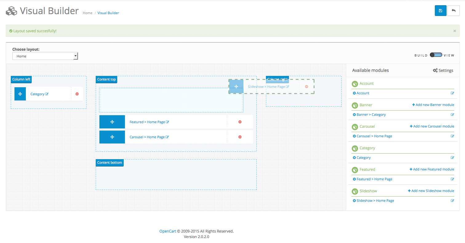 Visual Builder for Opencart