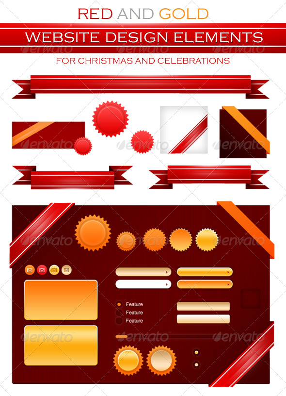 Red/Golden Badges, Ribbon and Website Elements - Web Elements