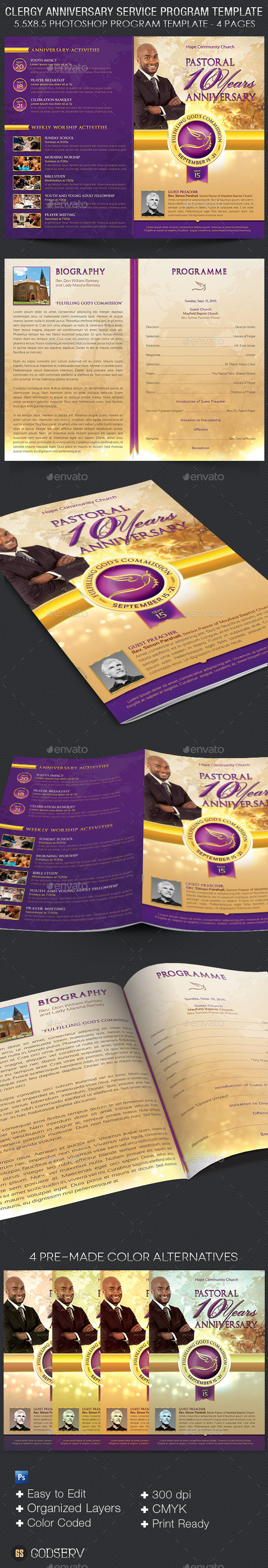 Clergy anniversary service program template by godserv graphicriver clergy anniversary service program template informational brochures thecheapjerseys Images