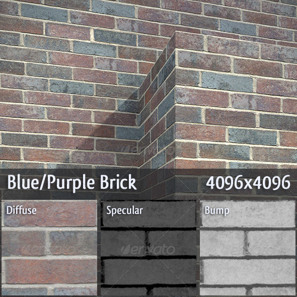 Blue/Purple Brick - 3DOcean Item for Sale