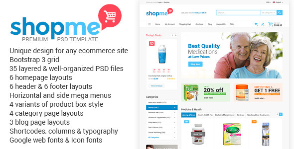 ShopMe – Ecommerce Multipurpose PSD Template