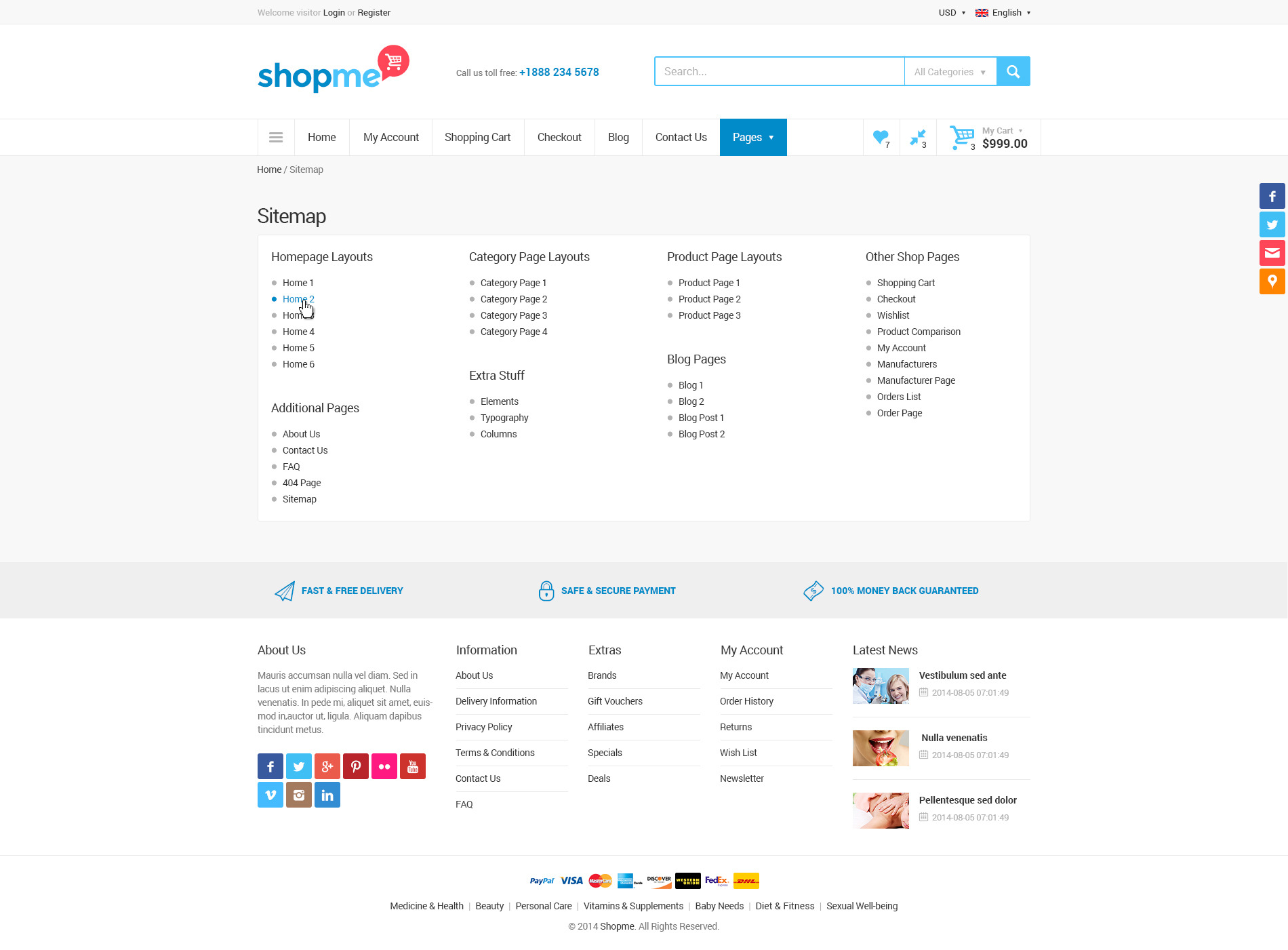 Shopme ecommerce multipurpose psd template by monkeysan preview40 sitemapg pronofoot35fo Images