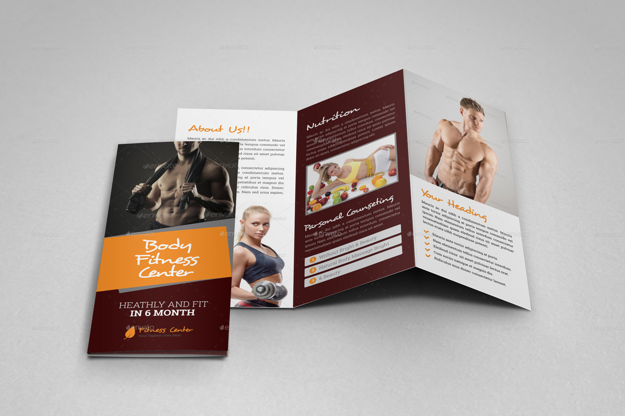 Gym Fitness Trifold Brochure Indesign Template By JanySultana - Indesign templates brochure