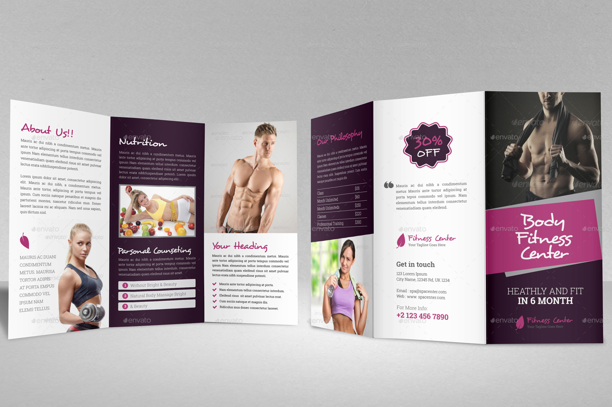 Gym Fitness Trifold Brochure Indesign Template by JanySultana ...