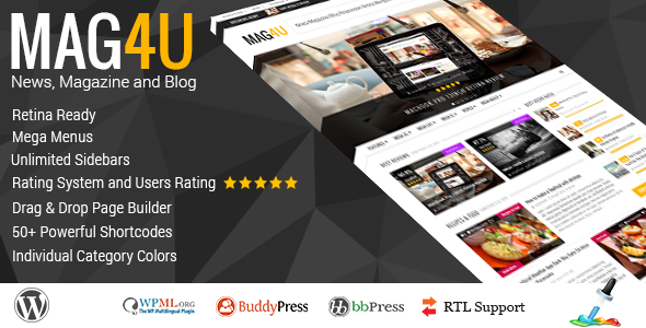 Mag4u – Responsive WordPress News, Magazine, Blog