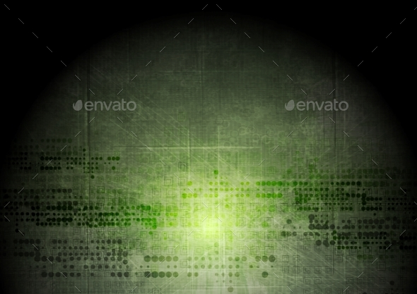 Dark Green Grunge Tech Background - Backgrounds Decorative