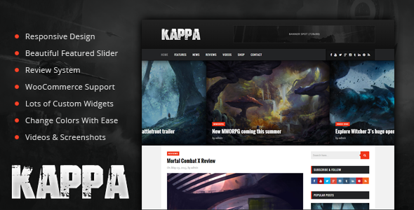 Kappa – A Gaming WordPress Theme