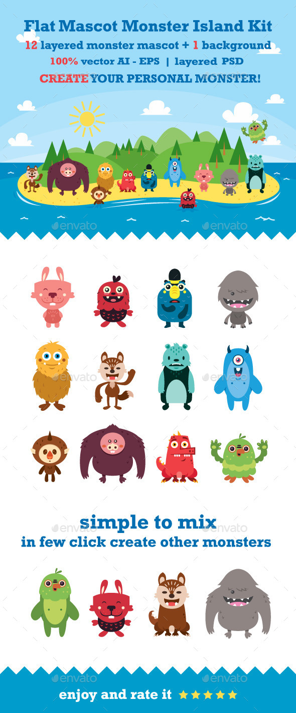 Flat Mascot Monster Island Kit - Monsters Characters
