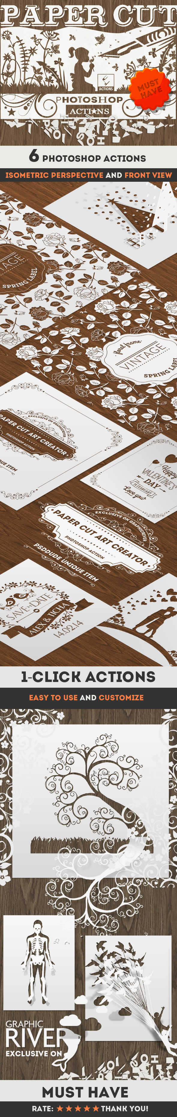 Paper Cut Art Photoshop Actions - Utilities Actions