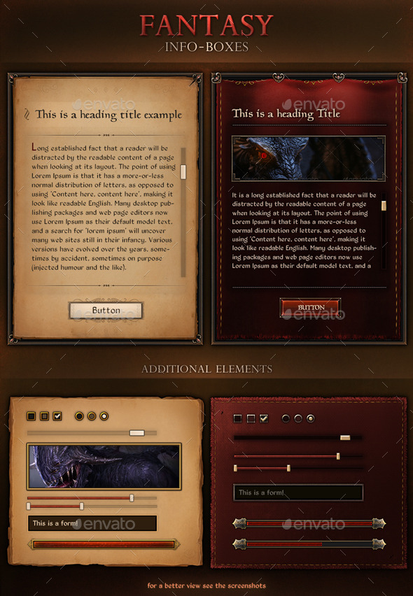 Fantasy Info Boxes - Miscellaneous Web Elements