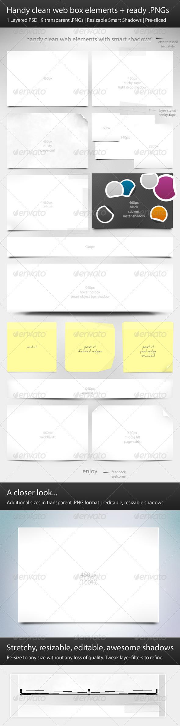 Handy Clean Web Box Elements + Ready .PNGs - Web Elements