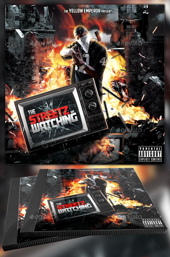 Streetz are Watching Mixtape/CD Template - CD & DVD Artwork Print Templates