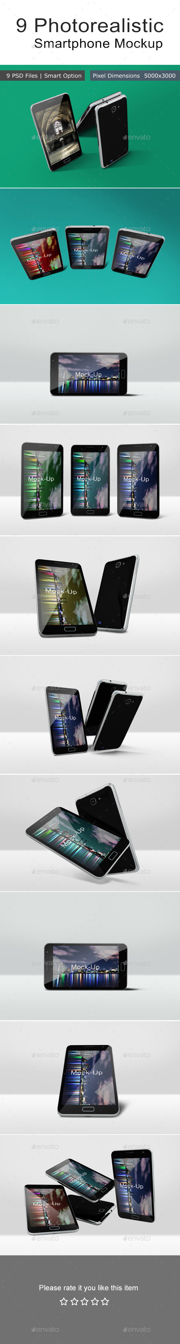 9 Photorealistic Smartphone Mockup - Mobile Displays