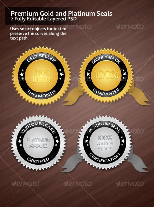 Premium Gold and Platinum Seals - Web Elements