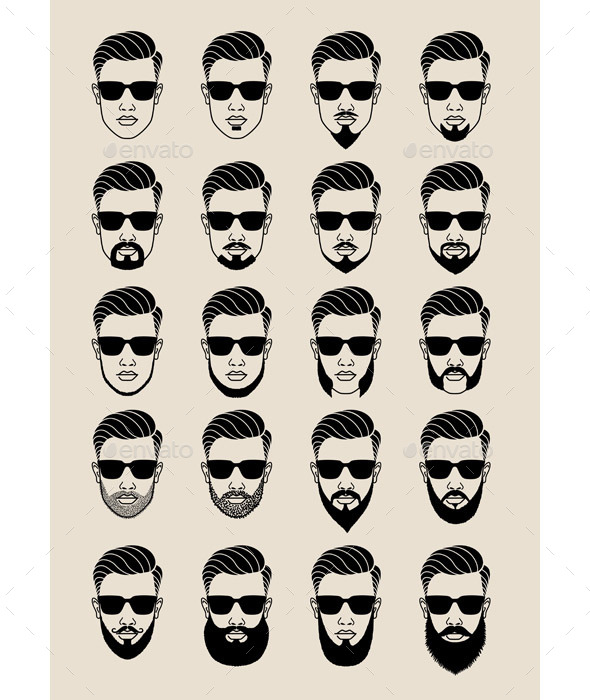Hipster Faces with Beard - People Characters