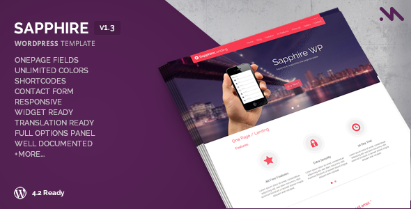 Sapphire – One Page WordPress Template