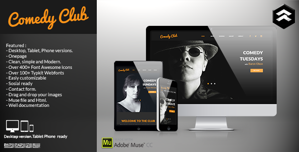 Comedy Club – Entertainment Club Muse Template