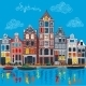 Amsterdam Canal and Typical Dutch Houses - GraphicRiver Item for Sale