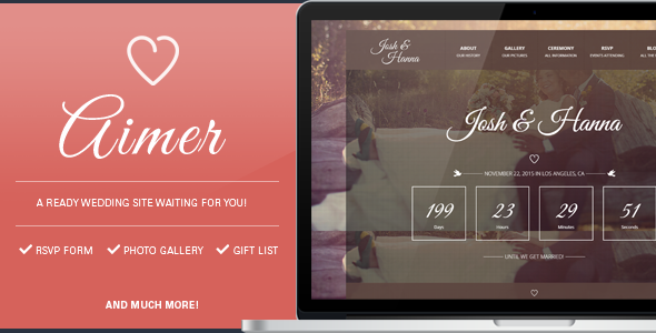 Aimer - Wedding template for lovers - Wedding Site Templates