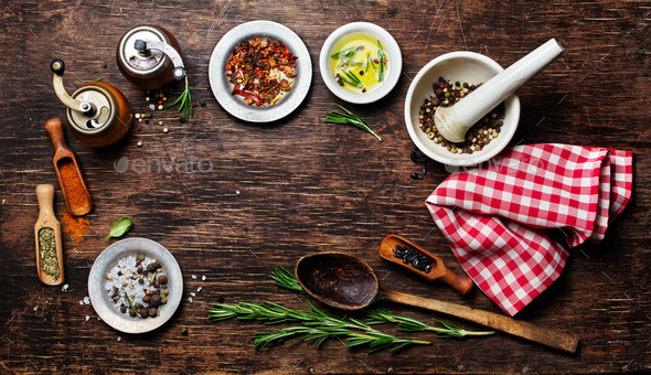 Various Spices on Wooden Background - Stock Photo - Images