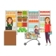 Woman Shopping in Grocery Store - GraphicRiver Item for Sale