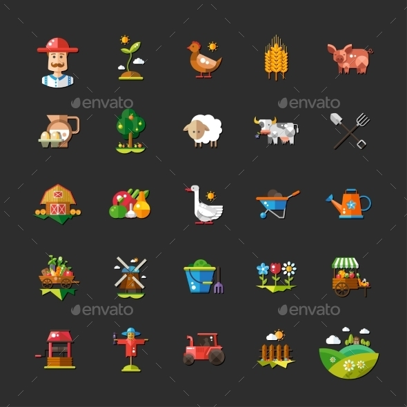 Set of Farm and Agriculture Flat Design Icons - Miscellaneous Vectors