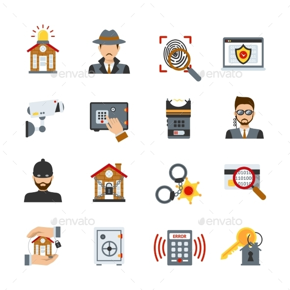 Surveillance And Security Icons Set
