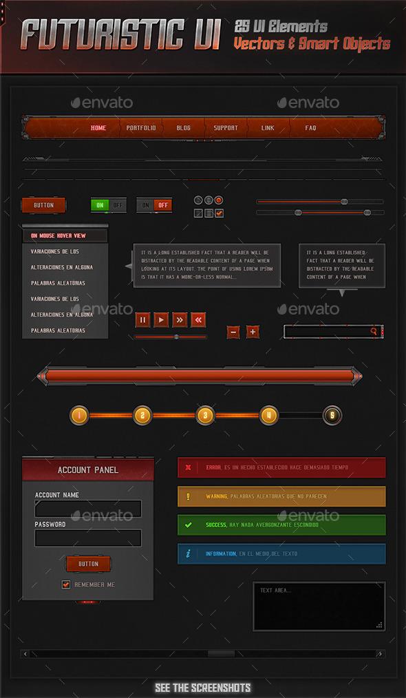 Futuristic UI - User Interfaces Web Elements