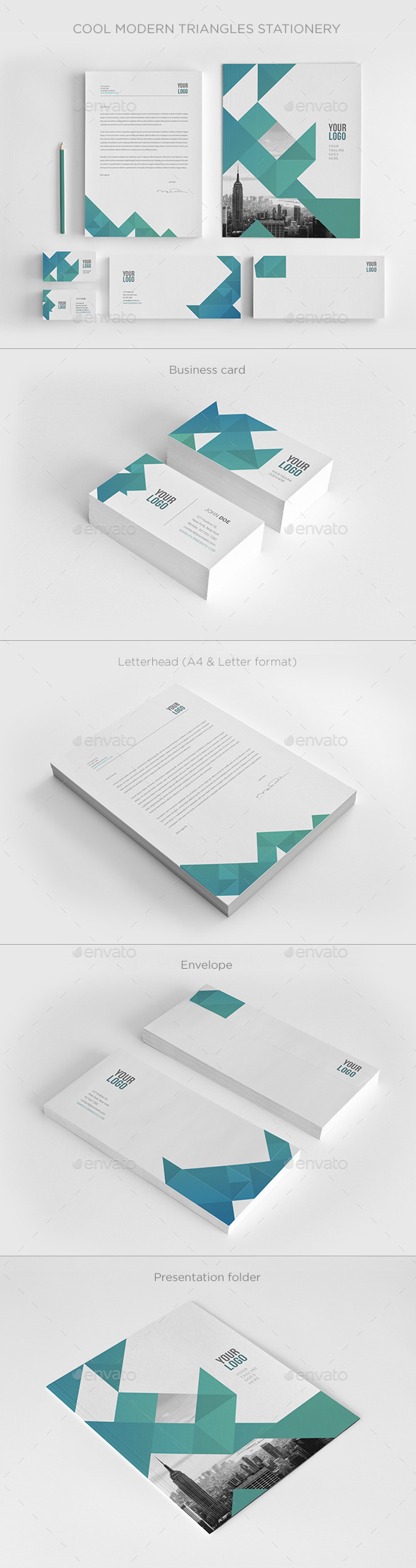 Cool Modern Triangles Stationery - Stationery Print Templates