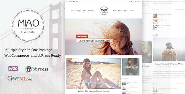 Miao - Fashion Magazine, News & Blog WordPress Theme