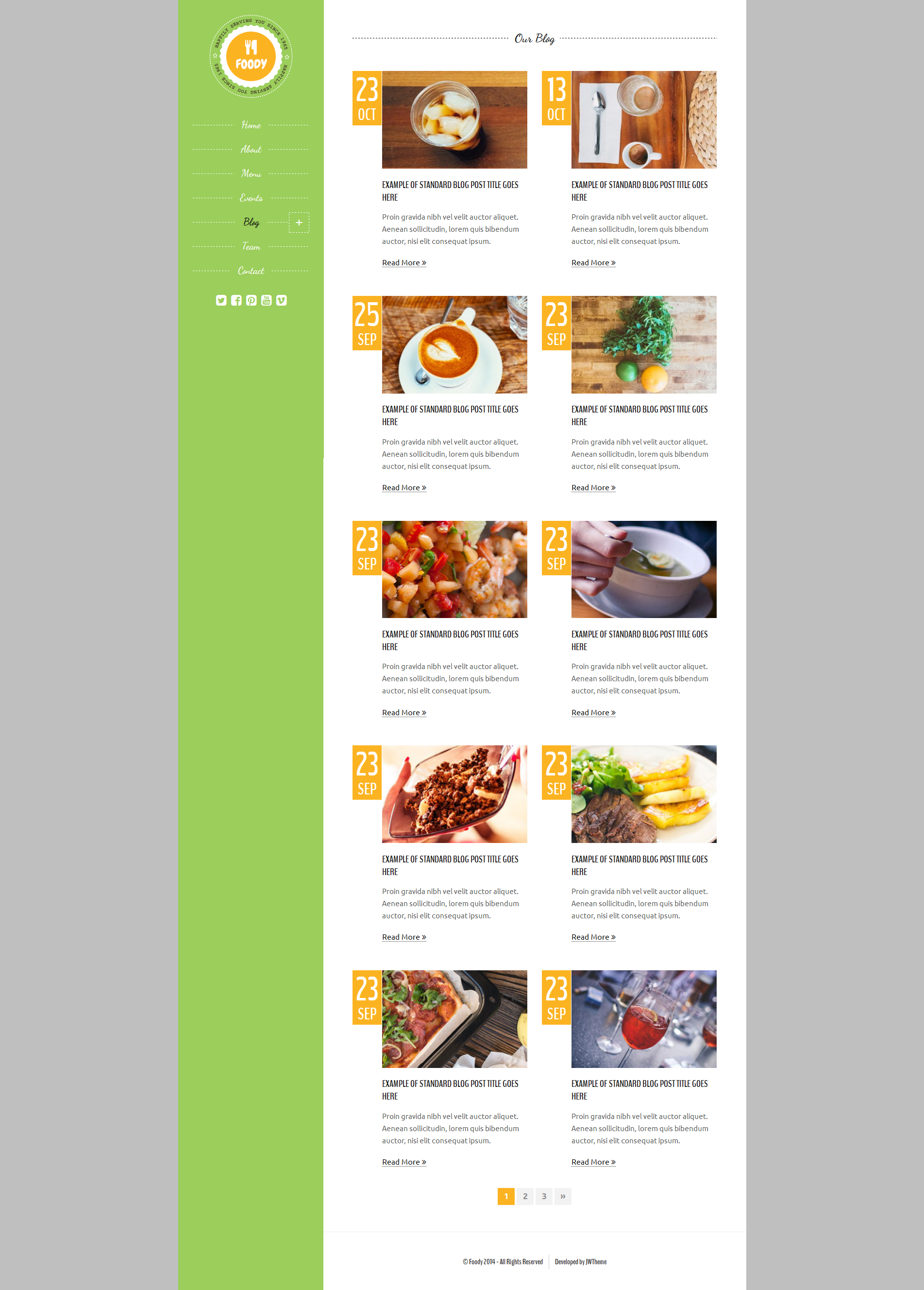 Foody Responsive Restaurant Html5 Template By Jewel