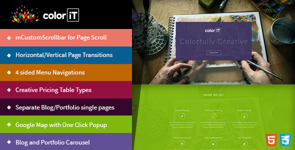 coloriT – Colorful Single Page HTML Template