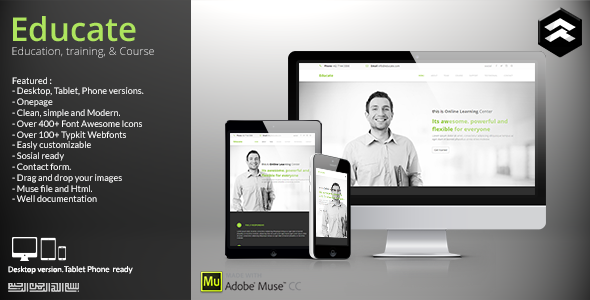 Educate - Education, Courses Muse Template