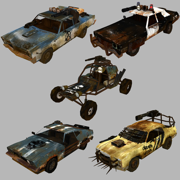 low poly postapo car set 01 - 3DOcean Item for Sale